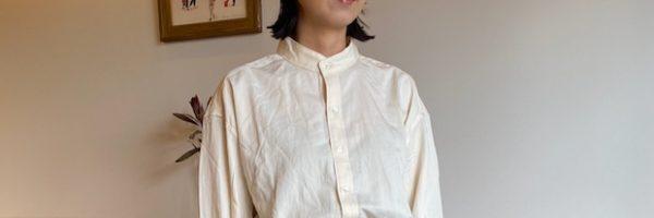 スーピマサテンスタンドカラーシャツ